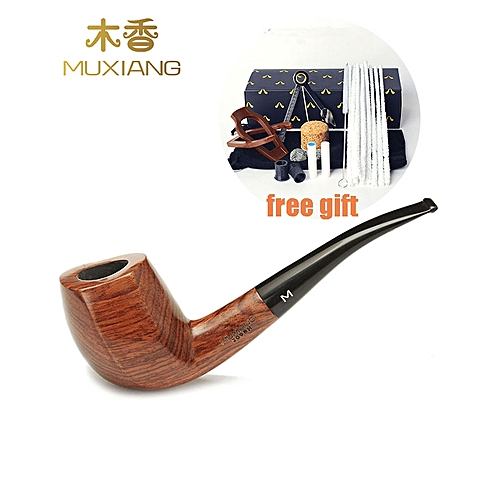 MUXIANG Tobacco Pipes Filter Solid Wood Bent Smoking Pipe