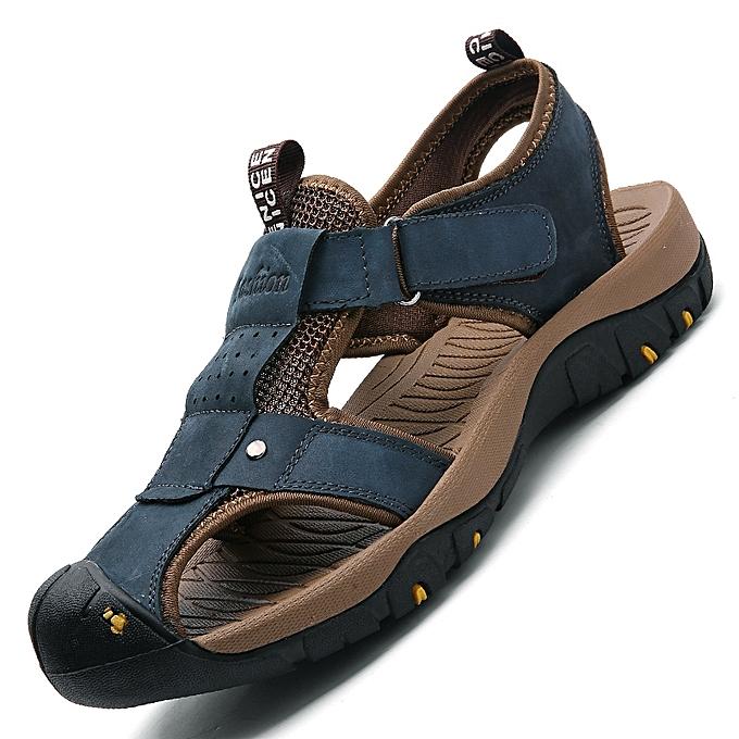 584c1b74d351 EUR Size 38-46 Classic Men Sandals Comfortable Men Summer Shoes Full Grain  Leather Sandals