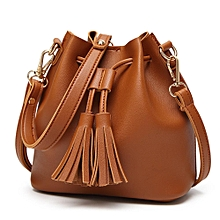 Fashion Women Leather Handbag Crossbody Shoulder Messenger Tassels Bucket Bag-Brown