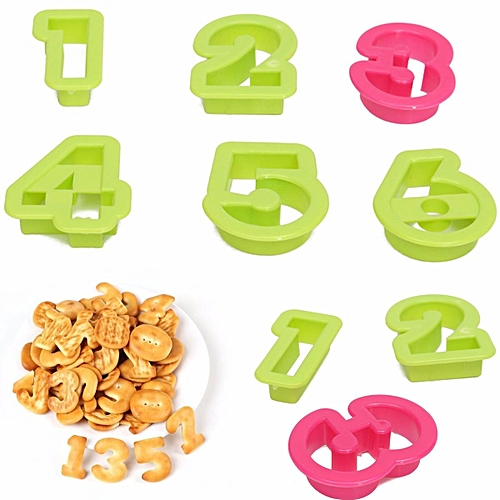 10Pc Numbers Cookie Cake Cutter Embosser Biscuit Sugarcraft Decorating Mold XMAS