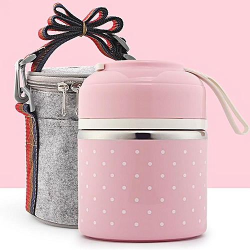 Portable Japanese Stainless Steel Lunch Box Adult Cute Lunch Box Student Split 2 Double 3 Plastic Three Lunch Boxes # One Layer Bags