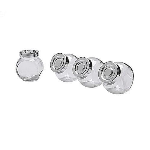 RAJTAN Glass Spice Jar, 4-Piece, Silver