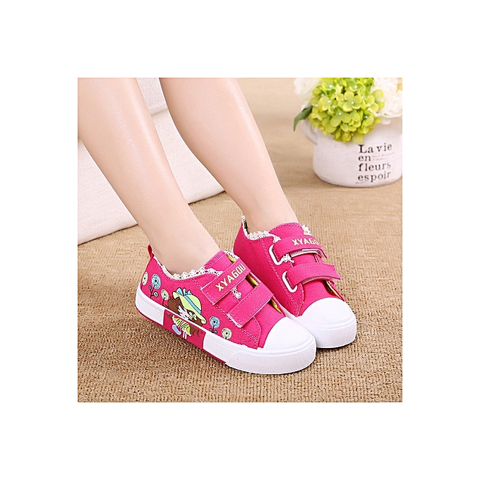 ecb9c2773 Girls Print Canvas Shoes Children Flat Non Slip Flower Lace Decoration  Sport Shoes