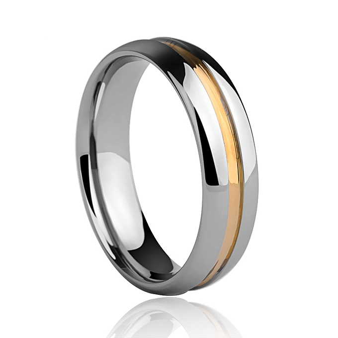Tungsten Wedding Rings.Man Jewelry High Polished 5mm Width Tungsten Wedding Rings Dome Band Grooving And Gold Color Plating Size 7 12