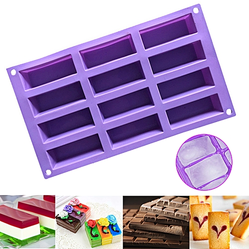 12 Cavity Rectangle Silicone Mold Candy Chocolate Tart Cake Soap Ice Cube Mould DIY Baking Decorating Tools Bakeware Random