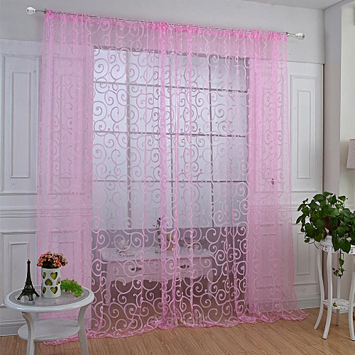 Floral Flocking Shaped Pattern Curtain Window Curtain
