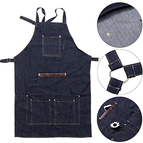 Men Ladies Denim Apron Bib Pocket Jeans Cafe Kitchen Cook Adjustable Uniform