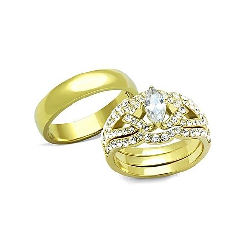 ACE Alicia IP Gold Titanium Steel Wedding Ring Set (3 In 1)