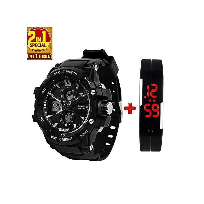 210f93260 Multifunction Chronograph Analog + Digital Sports Watch + Free Wristband-  Black