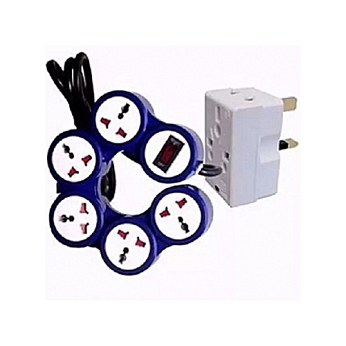 Foldable Pivot 5 Way Extension Box With Free Adaptor - Blue