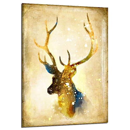 Oil Painting Elk Retro Non Woven Fabrics Decoration Art Hanging Wall Living Room