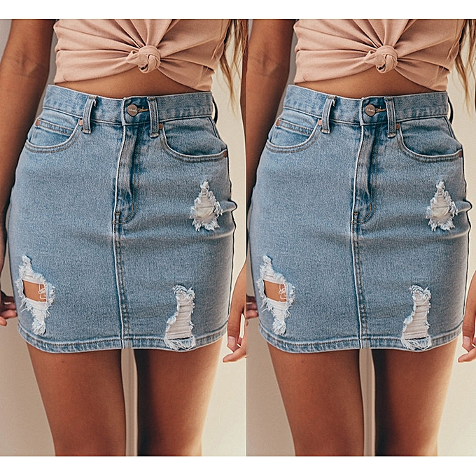 a536252bc8 Women Denim High Waisted Bodycon Pencil Frayed Mini Skirt Jeans Skirt