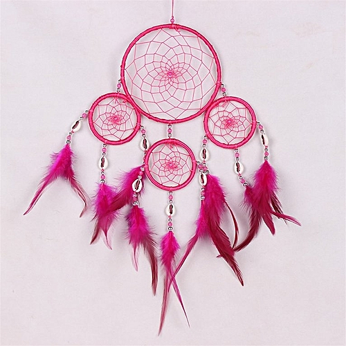 Home-4 Ring Net Feather Pendant Car Wall Hanging Ornament Decor Multi Colors