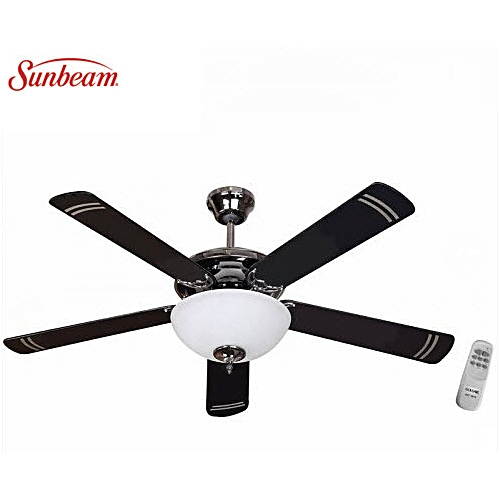 Sunbeam 52in Deluxe 5 Blades 1 Lights Ceiling Fan With Remote-Brown