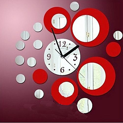 Fovibery Fashion Modern Circles Acrylic Mirror Style Wall Clock Removable Decal Art Sticker Decor