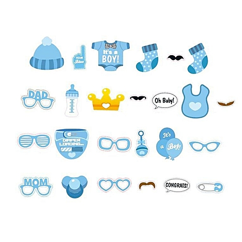Baby Birthday Party Decorations Photo Booth Props DIY Kits Fun Supplies Blue