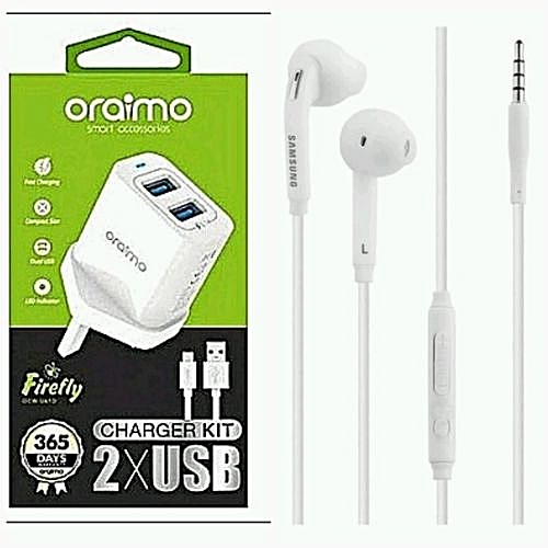 2xUSB Fast Charger And Free Earpiece