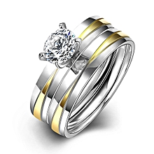 Gold Silver Plated Ring Wedding Love Crystal Couple Women's Zircon Rings Fashion