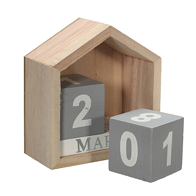Retro Wooden Perpetual Calendar Wood Block Home Desk Office Decor Artcraft Gift