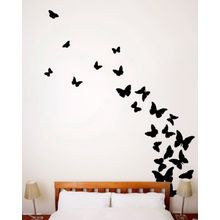 Black Butterflies 24 Pieces Wall Sticker   Black Part 79