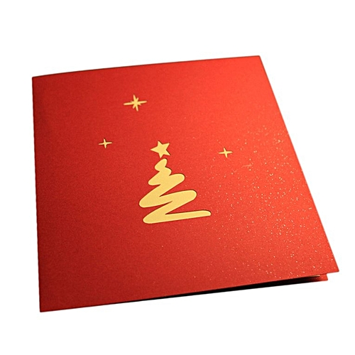 Christnas Greeting Cards 3D Pop Up Origami Stereoscopic Tree Gift