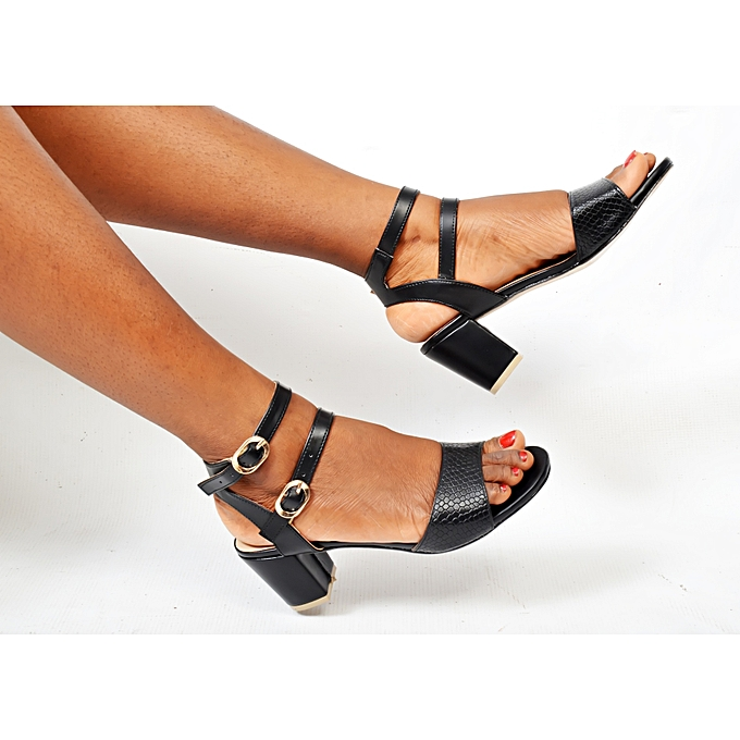 23aac72a626 Ladies Double Strap Shoes Moderate Block Heel Sandal-Black