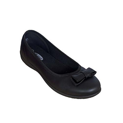 Girls Flat School Shoe - Black