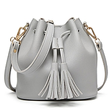 9f18b47877 Fashion Women Leather Handbag Crossbody Shoulder Messenger Tassels Bucket  Bag-Gray