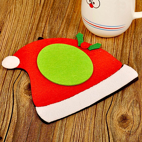 1Pc Christmas Tree Hat Glove Shape Cup Cushion Holder Drink Placemat Mat Pretty