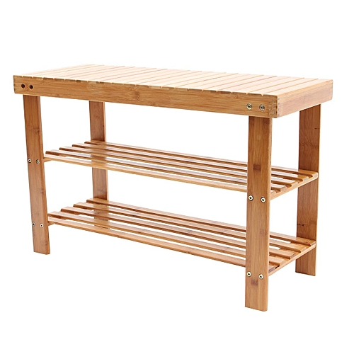 Natural Bamboo Shoe Bench 2-Tier Shoe Storage Rack Shelf Organizer Furniture New#50*28*45cm