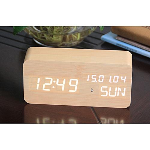 LED Wood Clock Electronic Alarm Clock.