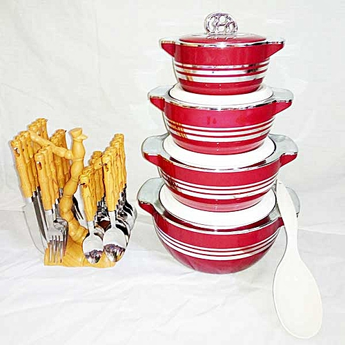 24pcs Cutlery Set With 4 Pieces Insulated Hot Pot