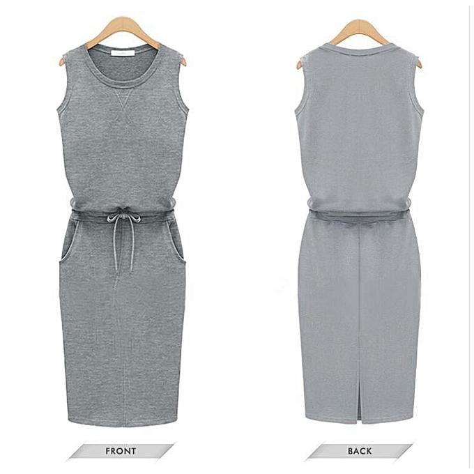 4443ed7b88 Summer Dress Fashion Women Sleeveless Cotton Slim Pockets With Belt Pencil  Dresses Casual Female Sexy Dress