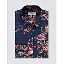 10341aaa23e6d Women  039 s Navy  amp  Pink Floral Print Fitted Shirt - Single Cuff