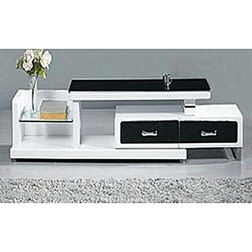 White TV Stand Designed With Black Top And Black Drawer (Lagos Delivery Only)