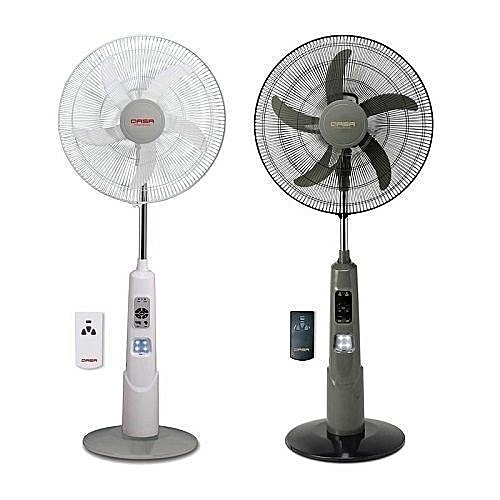 "18"" Rechargeable Standing Fan + Remote + LED Light +USB Port"