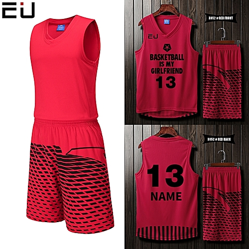 Eufy Blank Customized Casual Men's Basketball Team Sport Jersey Uniform-Red(3052)