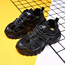 034ebc0bc0a Kids Girls Boys Fashion Lace-up Breathable Sneakers Black