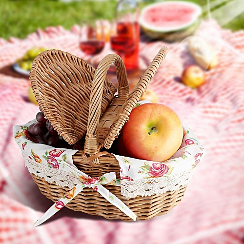 Oval Double Lidded Wicker Linen Floral Picnic Storage Basket Holiday Camping Use Home Decor