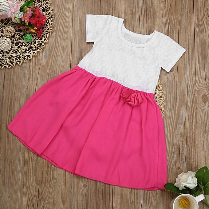 9bebc6819e1 ... Kids Baby Girls Summer Party Princess Dress Cute Lace Children Clothes  Outfits Musiccool ...