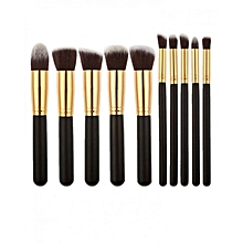 10 Pieces Professional Kabuki Makeup Brush Set -Black
