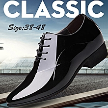 a87a27b94348c9 Mens Formal Pointed Toe Dress Shoes Office For Male -Black