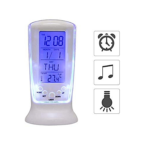 LED Digital LCD Alarm Clock Thermometer With Blue Backlight