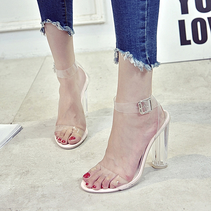852633a771c Fashion Women Hasp Transparent Thick Heel High-Heeled Shoes Sandals Clear(UK  Size)