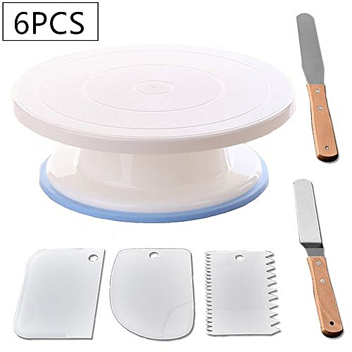 DIY Cake Turntable Stand Dough Scraper Cream Smoother 6pcs