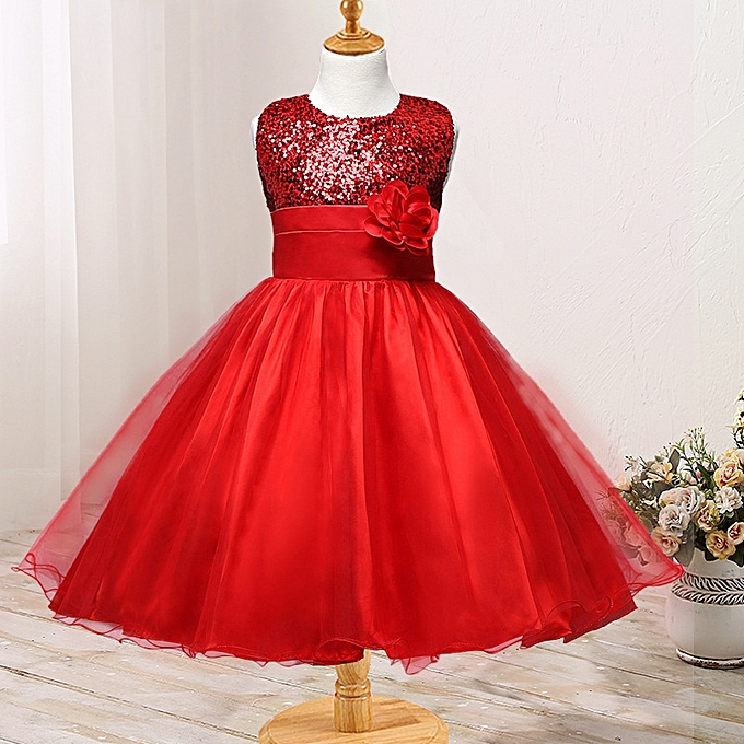 Glorystar Baby Girls Shiny Corsage Sun Dress Trim Ball Gown