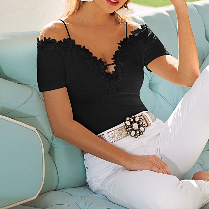 10b134d00a2d8d Hiaojbk Store Womens Casual Lace Cold Shoulder Tops Short Sleeve T Shirt V  Neck Tee Blouse