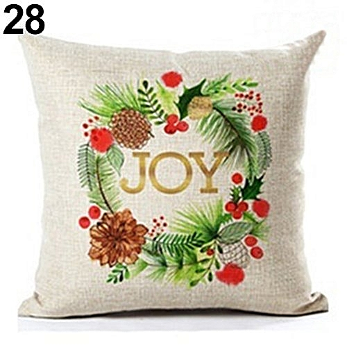 Geometric Flower Xmas Linen Throw Pillow Case Home Decoration Sofa Cushion Cover 28