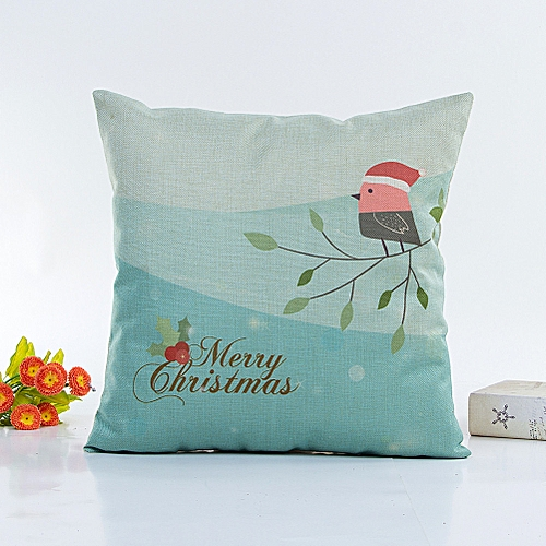Fashion Happy Christmas Pillow Cases Linen Sofa Cushion Cover Home Decor Pillow Core B