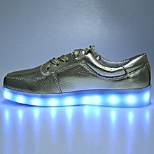 Casual Lace Up LED Male USB Charged Luminous Sneakers-GOLDEN